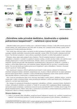 """""""Ochráňme naše prírodné dedičstvo, biodiverzitu a - EU"""