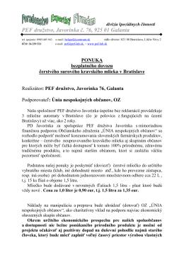Bezplatný rozvoz čerstvého mlieka v Bratislave