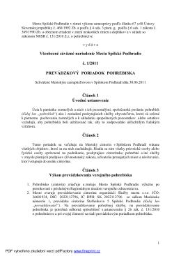 VZN Prevádzkový poriadok pohrebiska
