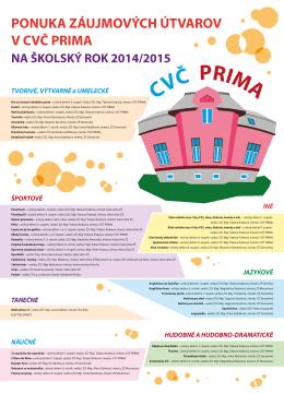 Ponuka záujmových útvarov CVČ PRIMA v šk. roku 2014/2015