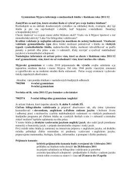 Gymnázium Myjava informuje o možnostiach štúdia v
