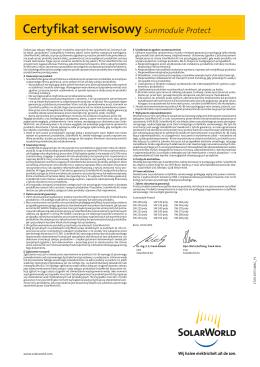 Certyfikat serwisowy Sunmodule Protect