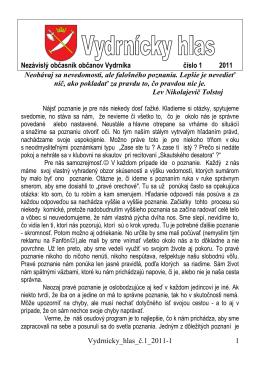 Vydrnícky_hlas_č.1_2011-1 1 Nezávislý občasník