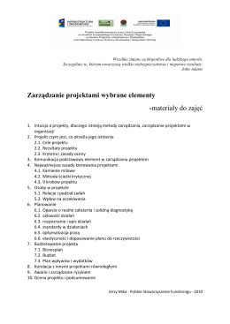 Zarządzanie projektami wybrane elementy