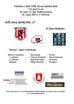 Bulletin MŠK Slavoj Spišská Belá č.8