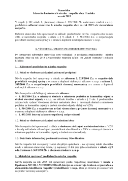 Stanovisko k rozpoctu 2015 -2017