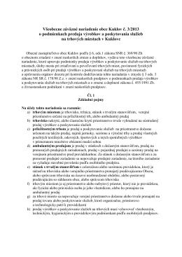 VZN č. 3/2013 o podmienkach predaja výrobkov a