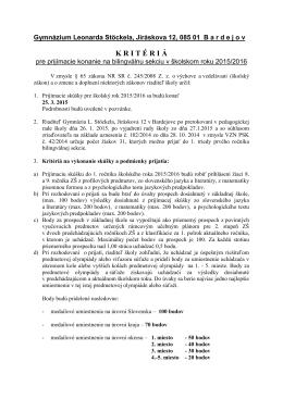 Kritéria pre prijímacie konanie na bilingválnu