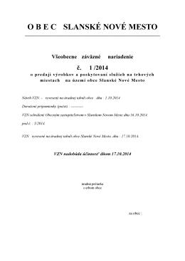 VŠEOBECNE ZÁVÄZNÉ NARIADENIE č. 4/2013