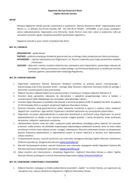 Regulamin Warsaw Restaurant Week i Ogólne Warunki Umowy