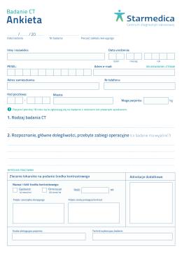 Ankieta przed wykonaniem badania TK format: PDF