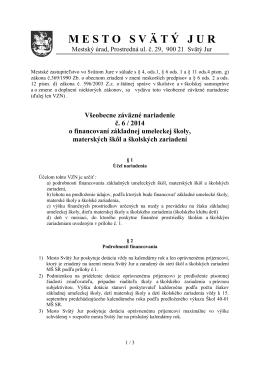 VZN č. 6/2014 o financovaní základnej umeleckej
