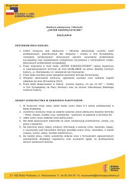 """Konkurs plastyczny i literacki """" JESTEM EUROPEJCZYKI EM"""