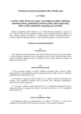 VZN č. 5/2014 o určení výšky dotácie na mzdy a
