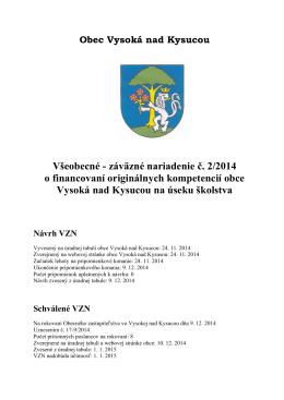 Všeobecné - záväzné nariadenie č. 2/2014 o financovaní