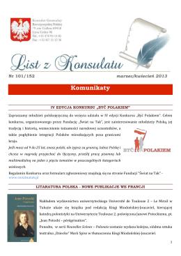 List z Konsulatu - marzec/kwiecień 2013
