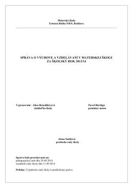Správa o výchove a vzdelávaní za školský rok 2013/2014