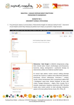 Dokumenty Google - Biblioteka. Lokalne centrum wiedzy praktycznej