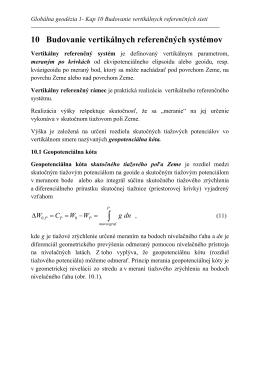 10 Budovanie vertikálnych referenčných systémov