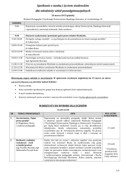 Program - Wydział Pedagogiki i Psychologii