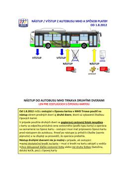 nástup / výstup z autobusu mhd a spôsob platby