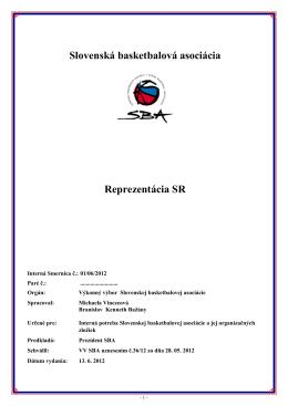 Slovenská basketbalová asociácia Reprezentácia SR