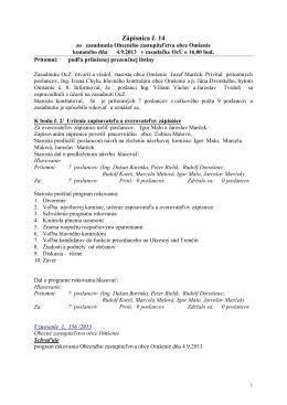 Zápisnica č. 14-2013 z 4.9.2013