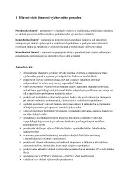 1 Hlavné ciele činnosti výchovného poradcu