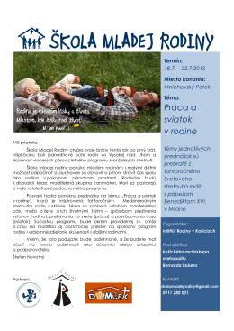 škola mladej rodiny - Inštitút rodiny Košice