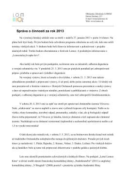 Správa o činnosti za rok 2013