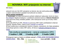 NOVINKA: WiFi pripojenie na internet
