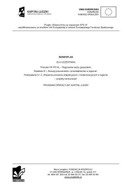 Biznesplan (.pdf) - Własna firma ze wsparciem EFS III