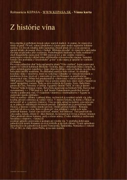 Z histórie vína - Reštaurácia KEPASA
