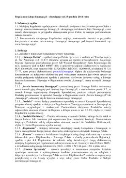 Regulamin sklepu limango.pl – obowiązuje od 25 grudnia 2014