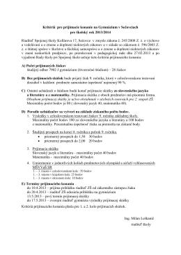 Kritériá pre prijímacie konanie - Gymnázium 2013