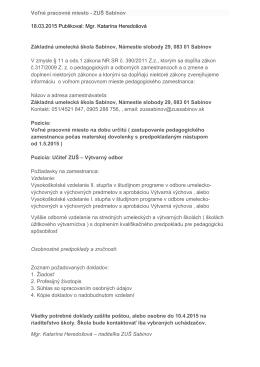 Voľné pracovné miesto - Základná umelecká škola Sabinov