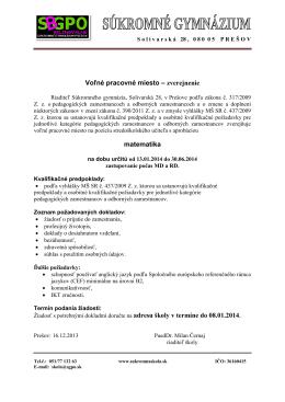 Voľné pracovné miesto – zverejnenie matematika