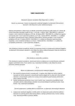 Všeobecne záväzné nariadenie obce Majcichov č. 1/2014