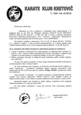 Sprievodný list – 2 percentá z dane pre KK Kretovič