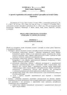 UCHWAŁA- Regulamin czystości i porządku w Gminie