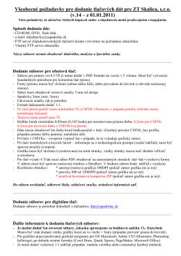 požiadavky pre grafikov na prípravu tlačových podkladov