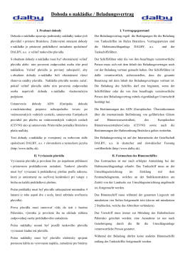 Dohoda o nakládke / Beladungsvertrag