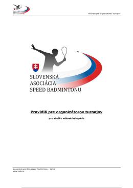 Pravidlá pre organizátorov turnajov - SASB