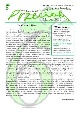 Gazetka marzec - Gimnazjum nr 6 Koszalin