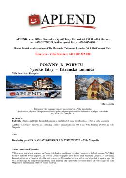 POKYNY K POBYTU Vysoké Tatry – Tatranská Lomnica