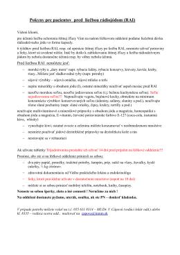 Pokyny pre pacientov pred liečbou rádiojódom (RAI)