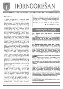 Hornoorešan - číslo 3/2010