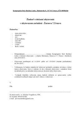 Žiadosť o ubytovanie 2014/15 Marianum Trnava