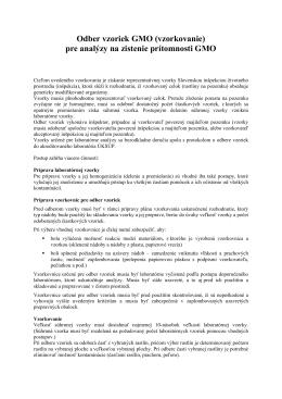 Odber vzoriek GMO - Slovenská inšpekcia životného prostredia