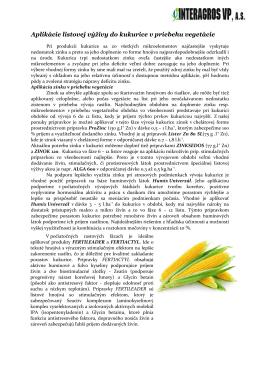 Aplikácie listovej výživy do kukurice v priebehu